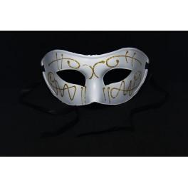 Maska wenecka biała z brokatem