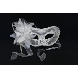 karnawałowa maska wenecka z materiału biała Nr. art AS-937Z