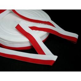 Taśma rypsowa biało czerwona 3,5cm - flagowa