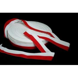 Taśma rypsowa biało czerwona 3cm - flagowa