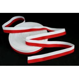 Taśma rypsowa biało czerwona 2cm - flagowa