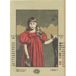 """KANWA DMC  J. Pankiewicz """" Dziewczynka w czerwonej sukni """" nr.J6083P"""