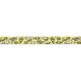 Lamówka bawełniana zaprasowana 20 mm żółta ze wzorem