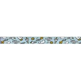 Lamówka bawełniana SAFISA 20 mm niebieska ze wzorem Art.6352 Col 40